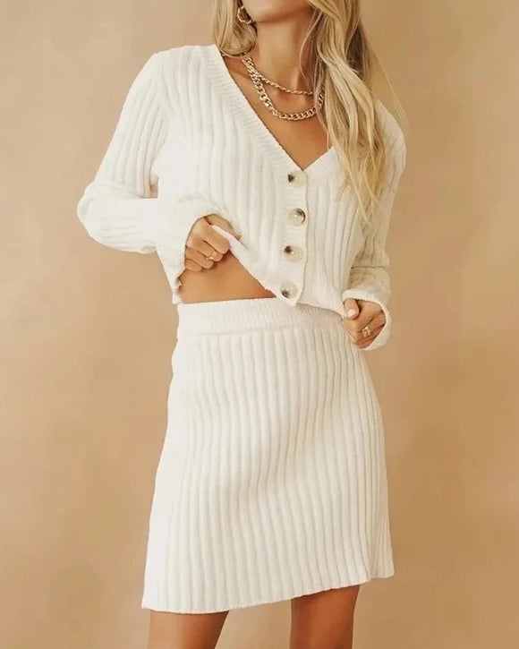 Knitting Single-breasted Crop Tops Cardigans Mini Skirt Two-piece Set