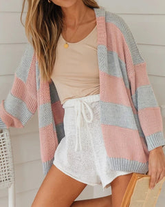 Contrast Stripe Knitting Sweater Cardigans