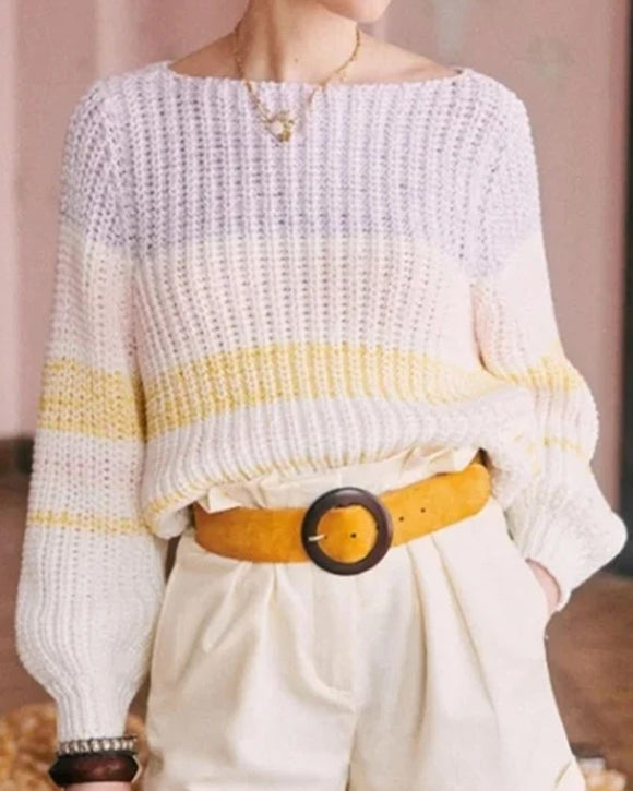 Lantern Sleeve Contrast Stripe Knitting Sweater