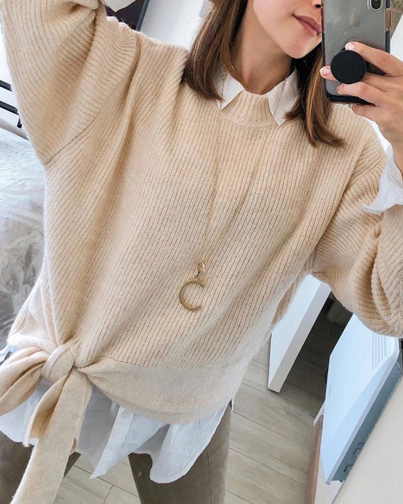Casual Office Style Bowknot Knitting Sweater