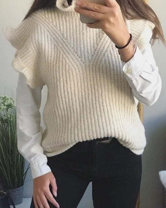 Hollow-out Knit Ruffled Vest Sweaters Blouse