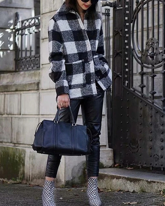 Black And White Grid Single-breasted Shirt Style Cardigan Coat