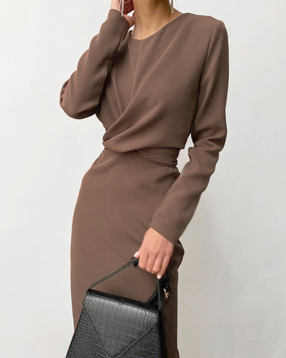 Round Neck Elastic Waist Bodycon Work Midi Dresses Brown