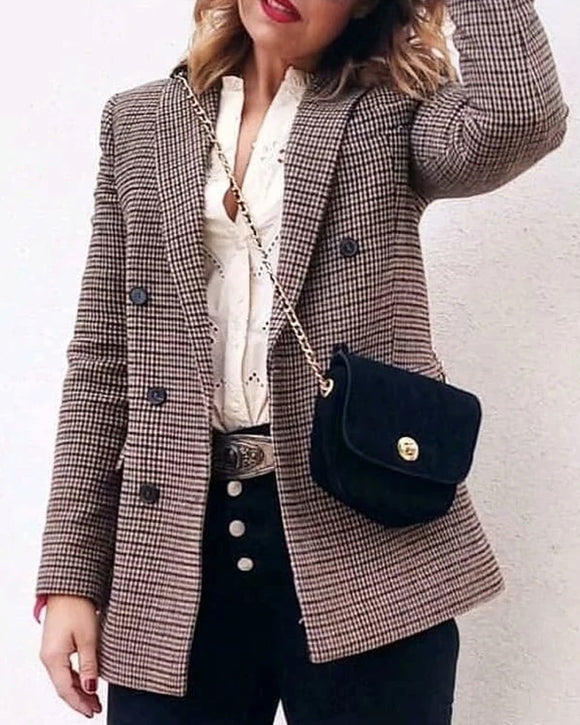 Double-breasted Houndstooth Suit Coat Cardigan Blazers