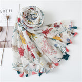 Tassel Fringe Cotton Printed Scarf Shawl for Women Ladies Girls