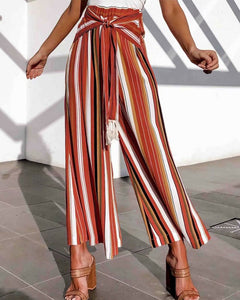 Striped Lace-up Loose Trousers Pants