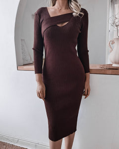 Round Neck Knit Bodycon Sweaters Midi Dresses Brown