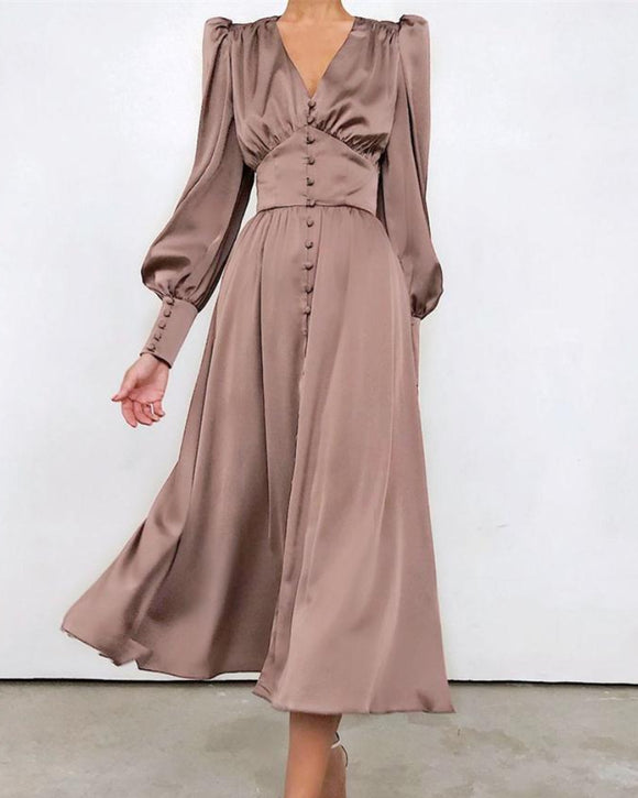 Lantern Bubble Sleeve Satin Midi Dresses Brown