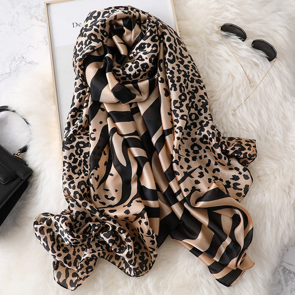 Fashion Warm Leopard Silk Scarf Shawl Wrap for Women Ladies Girls 90x180