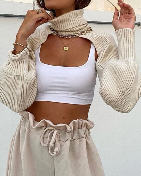 Casual Turtleneck Lantern Sleeve Cutout Cropped Knit Sweater