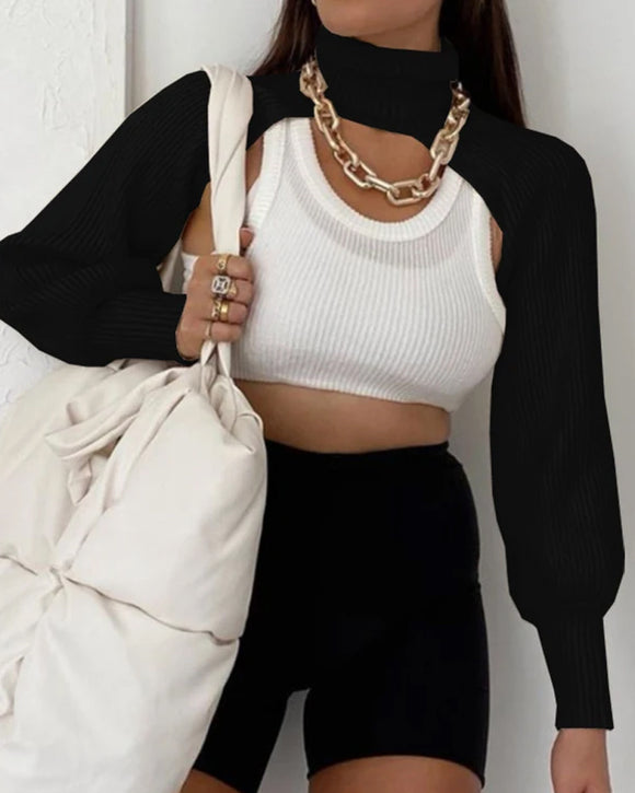 Casual Turtleneck Lantern Sleeve Cutout Cropped Knit Sweater Black