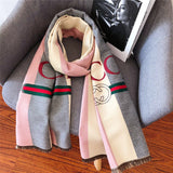 Striped Letter CC Casual Scarf for Women Winter Scarves Women