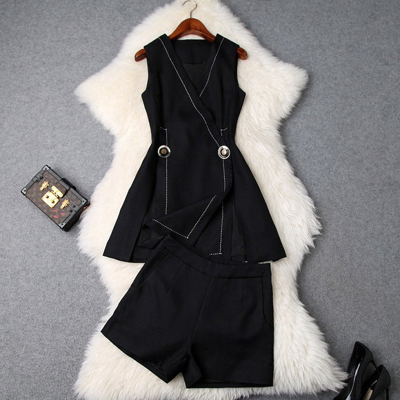V-neck Suit Double Buckle Vest Shorts Blazers Two-piece Set