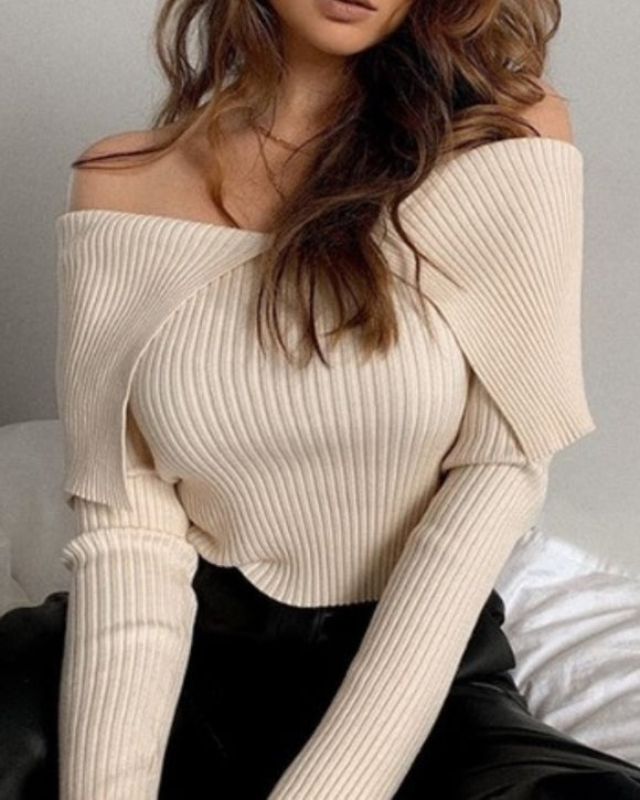 Sexy Pile Collar Off Shoulder Knit Sweater Blouse