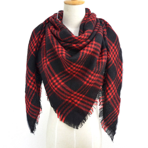 British Style Striped Plaid Triangle Scarf Shawl Fringed Scarves