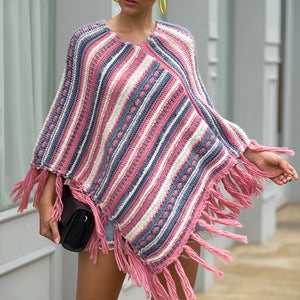 Tassel Fringed Pullover Diagonal Stripes Sweater Cloak Shawl Cape