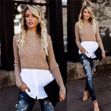 Women's Button Splicing Long Sleeves Sweater