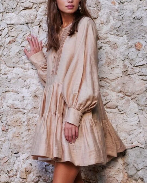Lantern Sleeve Shirred Frill Linen Splicing Mini Dresses