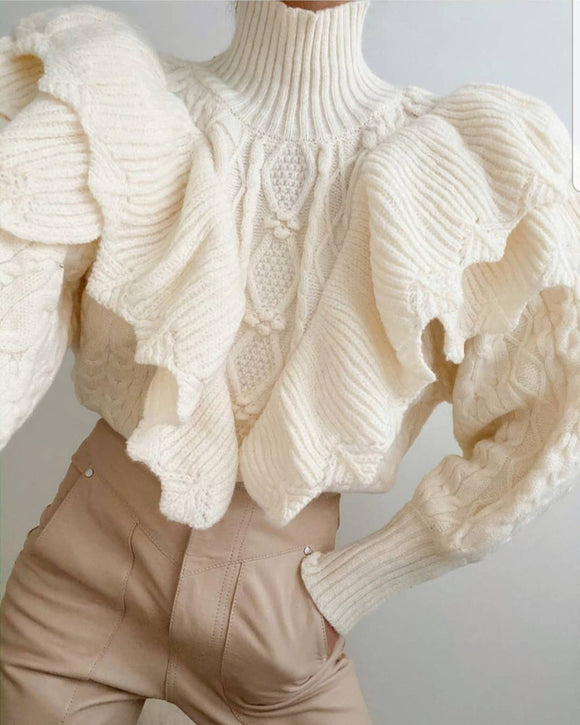 High Collar Ruffles Lantern Sleeves Knit Sweater