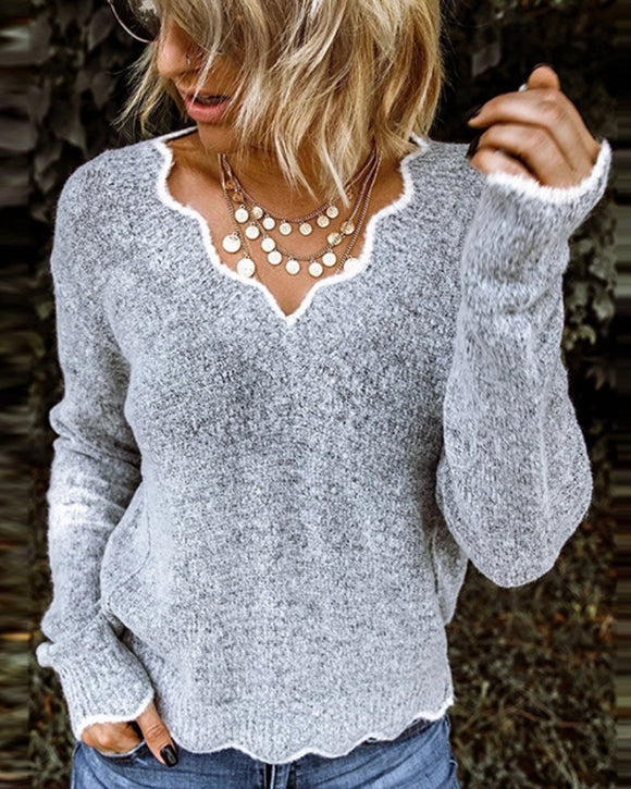 V-neck Ruffle Collar Knit Sweaters
