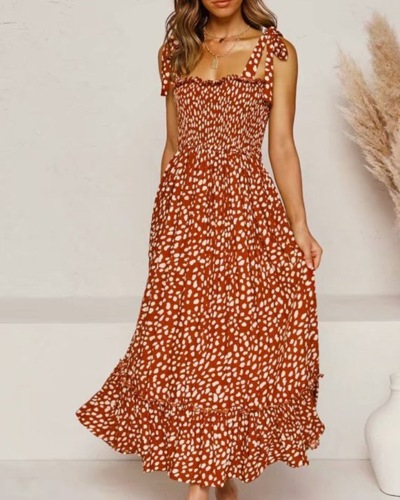 Polka Dot Lace-up Floral Backless Strappy Maxi Midi Dresses