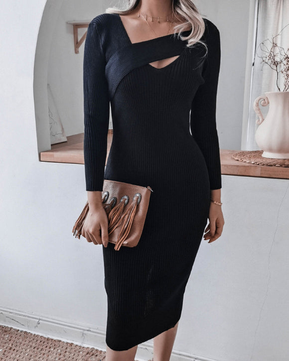 Round Neck Knit Bodycon Sweaters Midi Dresses Black
