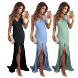 Deep V-neck Button Sleeveless Irregular Fishtail Elegant Bodycon Midi Maxi Dresses