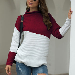 Round Neck Irregular Splicing Long Sleeve Sweater