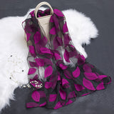 Lotus Floral Silk Scarf for Women