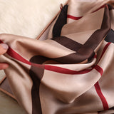 Rosette Print Silk Scarf Shawl Wrap for Women Ladies Girls 90x180