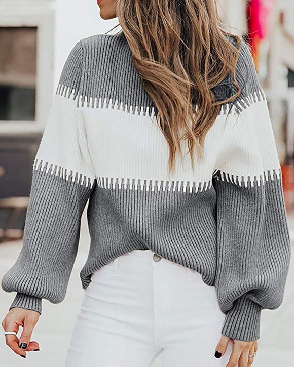 High-collared Lantern Sleeve Knit Splicing Sweaters