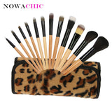 12pcs Leopard Makeup Brush Sets Cosmetic Brush Leopard Bag