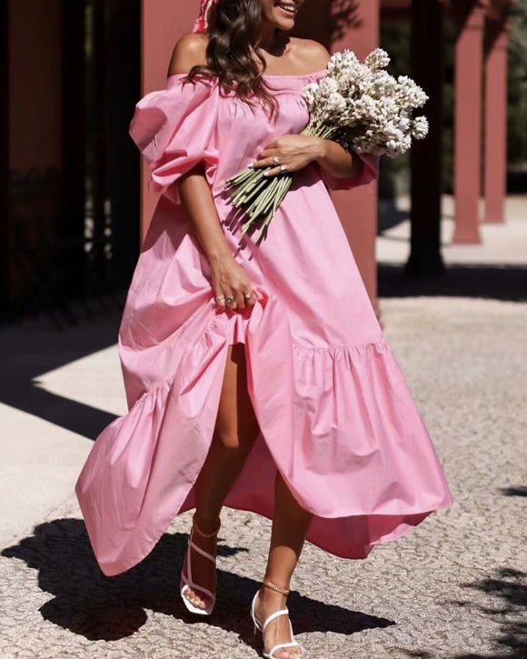 Square Collar Off Shoulder Puff Bubble Sleeve Party Maxi Dresses
