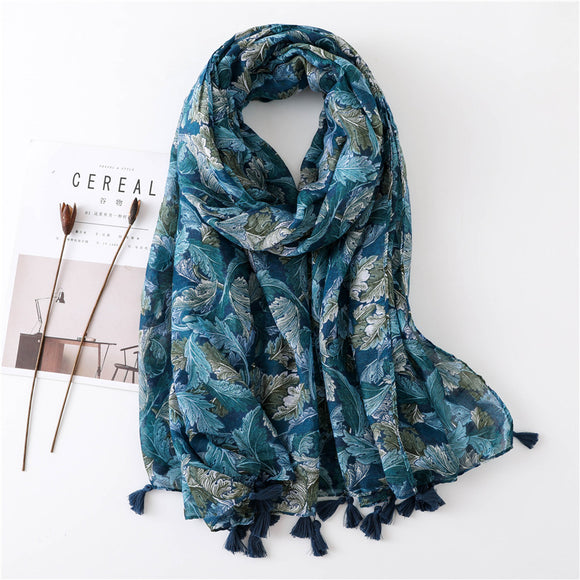 Ethnic Blue Tassel Printed Scarf Shawl for Women Ladies Girls