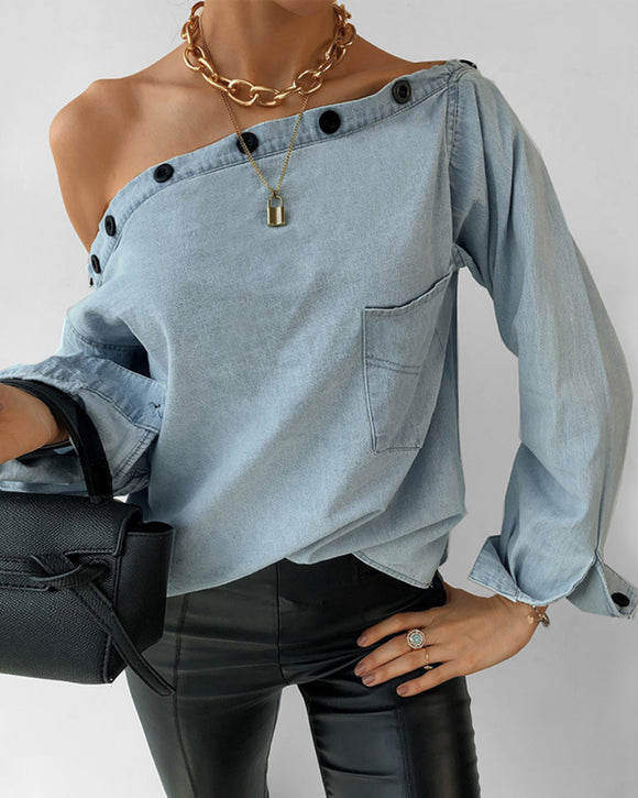 Casual One Shoulder Botton Collar Denim Shirt Blouses
