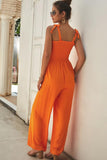 Casual Bow Tie Shoulder Wide-leg Jumpsuit