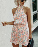 Womens Off Shoulder Halter Strapless Floral Print Jumpsuit Rompers