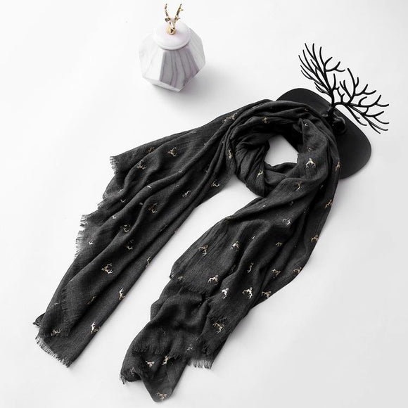 Christmas Elk Printing Cotton Linen Blend Long Scarf Casual Travel Warm Ethnic Scarves Shawls