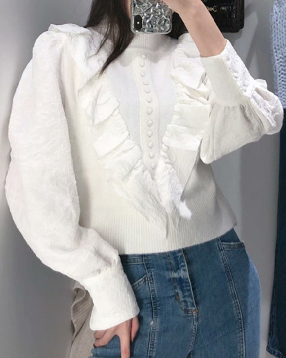 Elastic Sleeve Ruffled High-collared Laminated Sweaters Blouses
