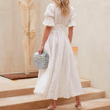 White Retro Palace V-neck Single-breasted Party Maxi Dresses