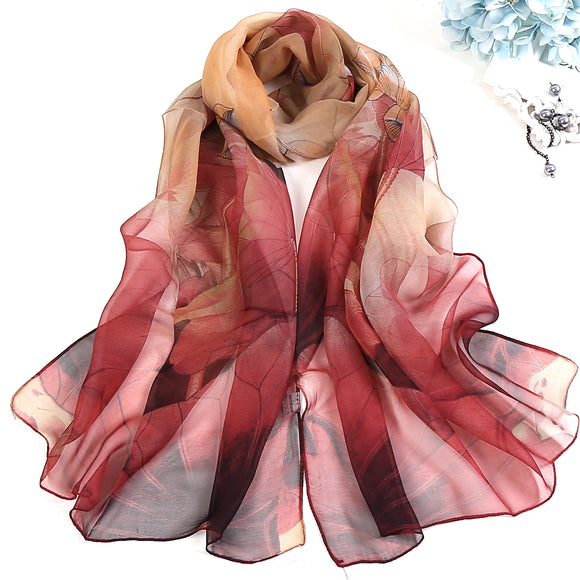 Lotus Printed Long Thin Silk Scarf for Women