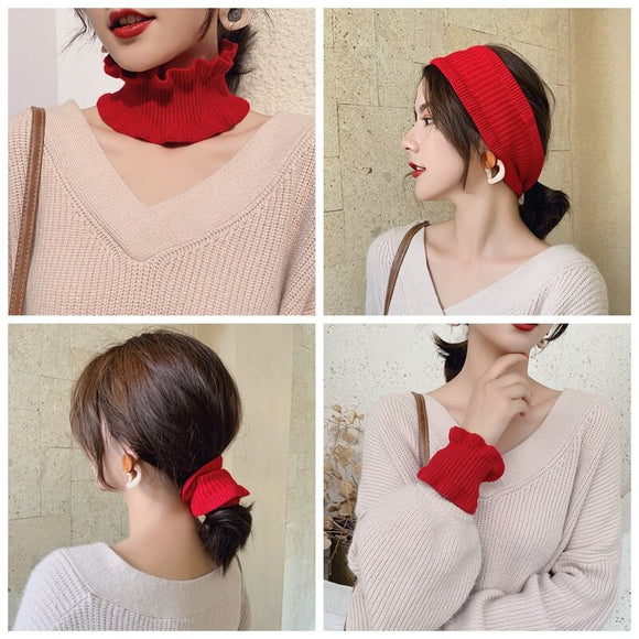 Auricularia Collar Double Knitted Wool Pullover Warm Scarves