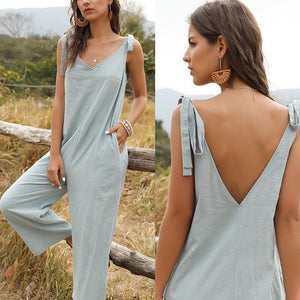 Womens Lace-up Sleeveless Bow Knot Jumpsuit Cropped Pants Rompers