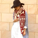 Christmas Elk Snowflake Knitting Long Scarf Casual Travel Warm Couple Scarves Shawls
