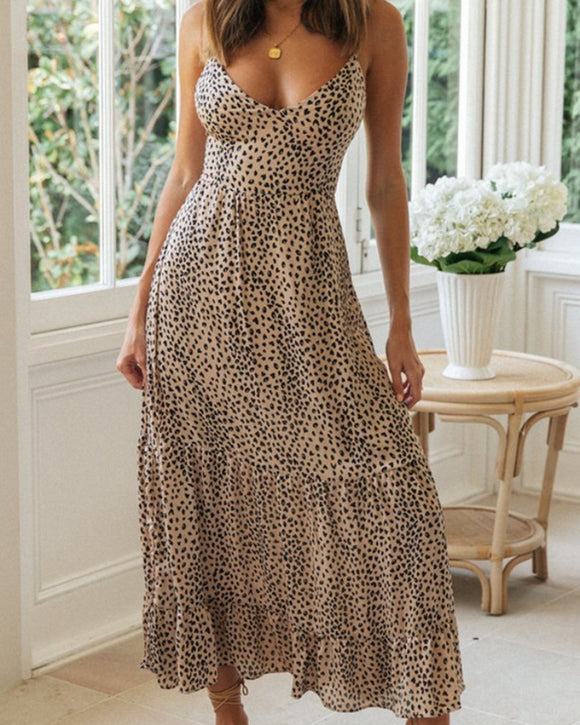 Strappy V-neck Lace-up Polka Dot Backless Midi Maxi Dresses