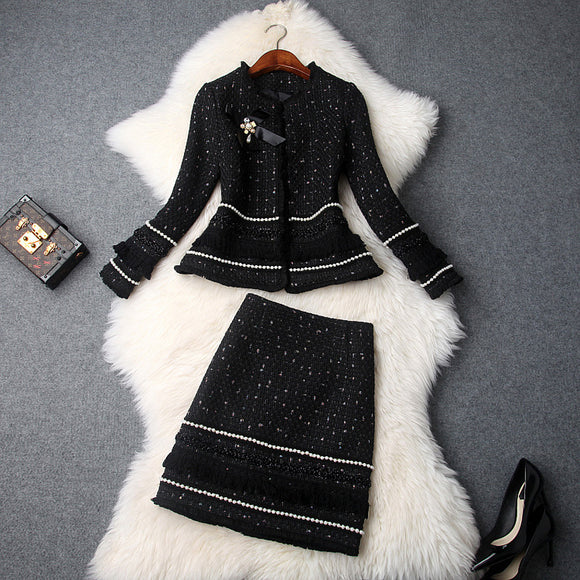 Single-breasted Beading Elastic Waist Tassel Tweed Blazers Mini A-line Skirt Suit Two-piece Set Black