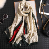 CC Vogue Stripe Silk Scarf for Women Scarves Women