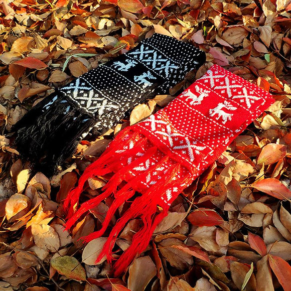 Christmas Elk Snowflake Knitting Scarf Casual Travel Warm Couple Scarves Shawls