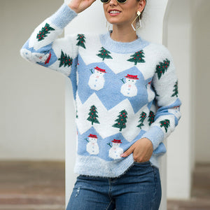 Christmas Tree and Snowman Pattern Long Sleeve Sweater