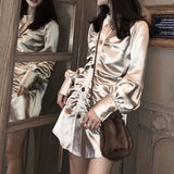 Champagne Satin Pleated Long Sleeve Gold Buttoned Shirt Mini Dresses